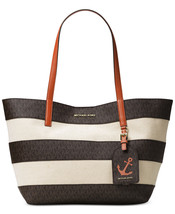 NWT Michael Kors Brown Monogram Orange Leather Stripe Large Illustration... - $154.44