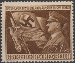 1944 Hitler and Flag Germany Postage Stamp Catalog Number B252 MNH