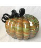 Handblown Art Glass Pumpkin Orange Green Stripes w Black Curly Stem Fall... - $39.95