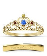 Yellow Gold Plated 925 Silver Disney Princess Belle Crown Ring Unique Je... - £39.63 GBP
