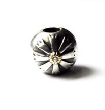 Pandora Sterling Silver ALE 925 14k Flower Sunburst Charm Bead Round Clip CZ - $49.49