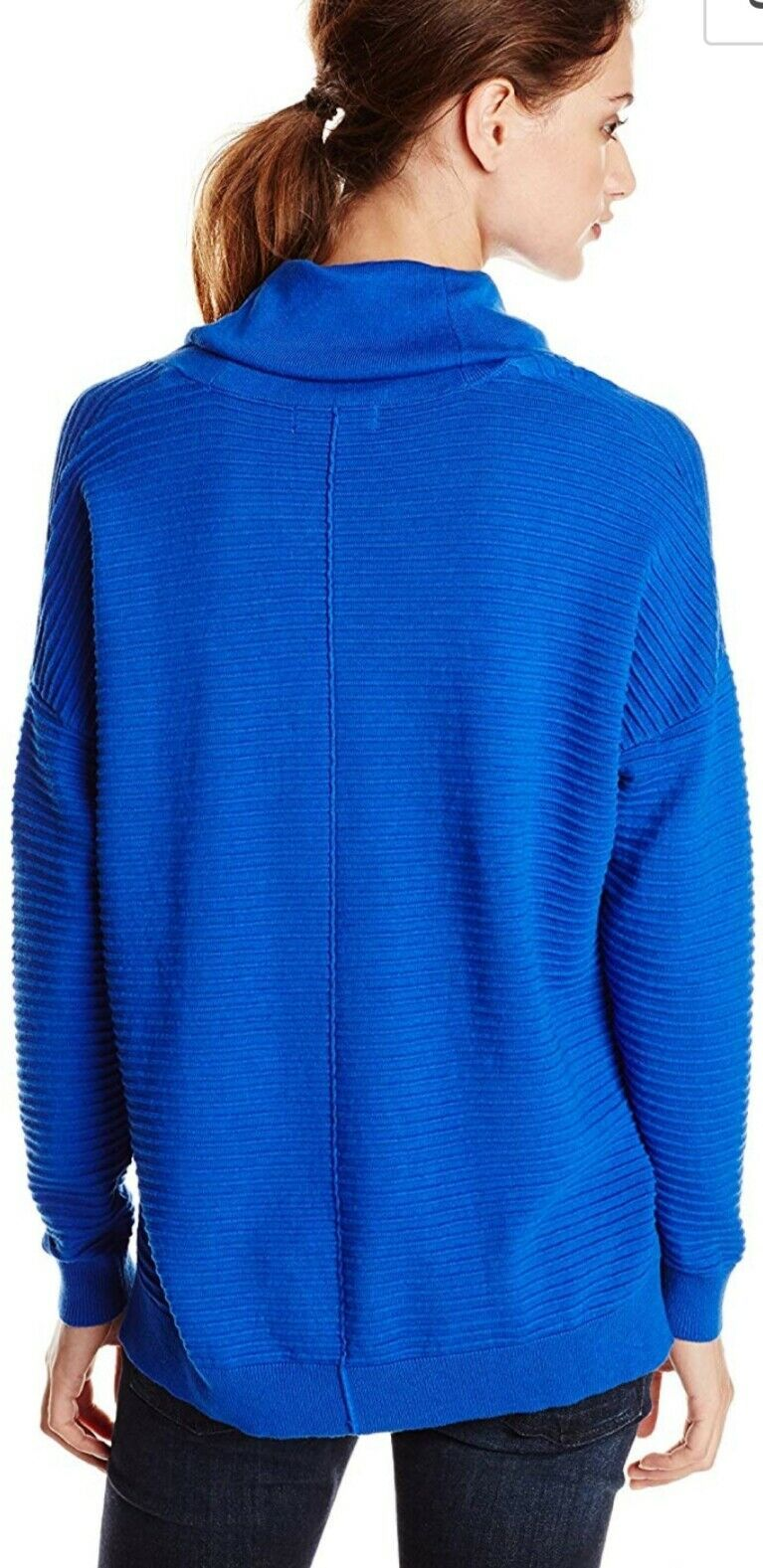 CALVIN KLEIN W RIBBED COWL NECK SWEATER BLU NWT $89.50