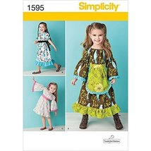Simplicity Tenderfeet Stitches Pattern 1595 Toddler Dress in Two Lengths with Va - $13.48