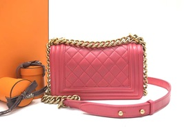 AUTHENTIC CHANEL PINK QUILTED LAMBSKIN SMALL BOY FLAP BAG GHW WITH RECEIPT image 3