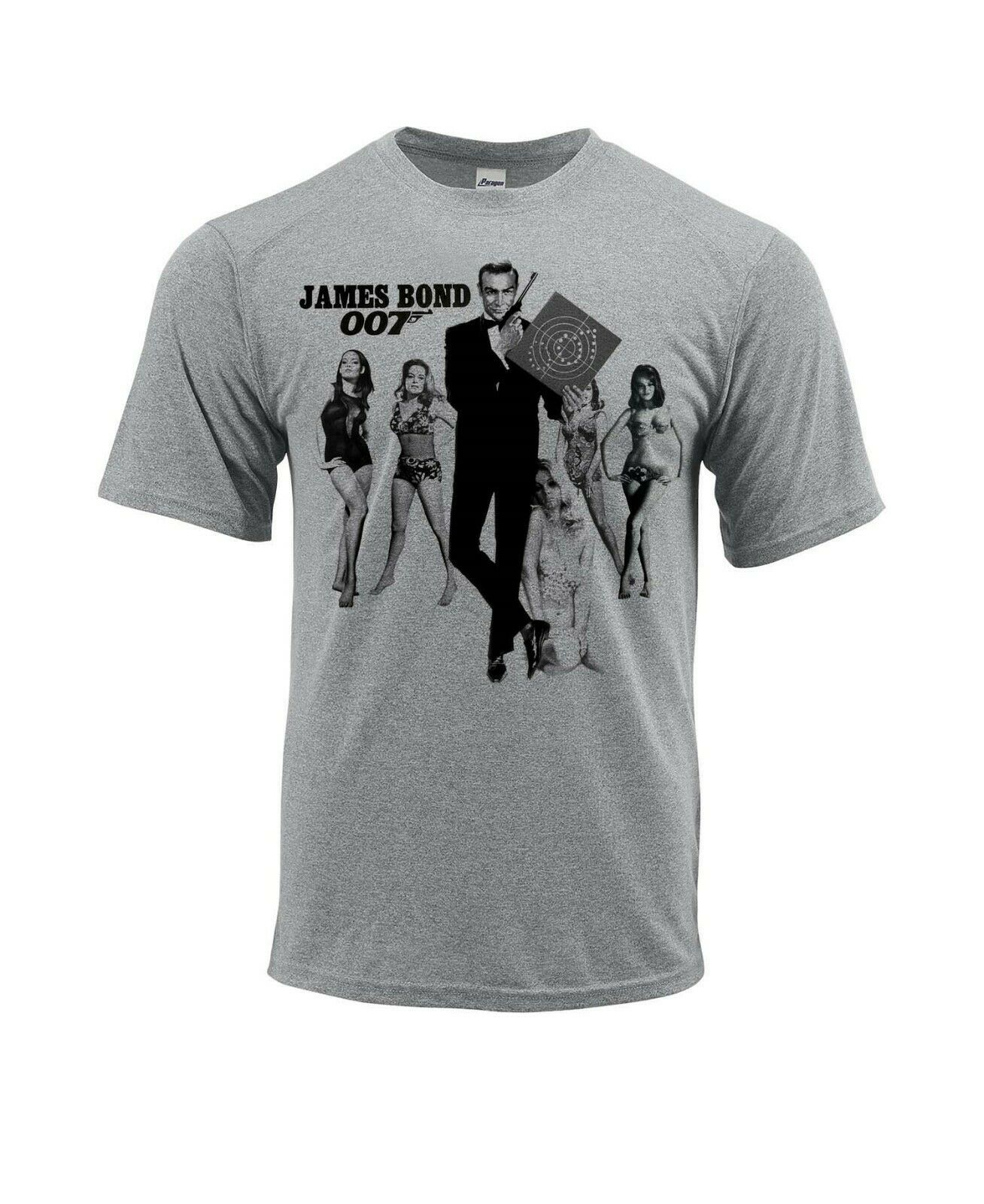 James bond 007 dri fit t shirt moisture wick retro 60s 70s spf gray graphic retro tee