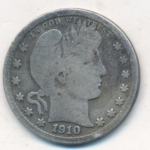 1910-D BARBER SILVER QUARTER-NICE CIRCULATED BARBER QUARTER-SHIPS FREE!  - $15.95
