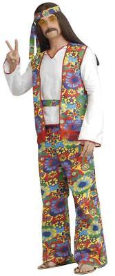 Hippie Man Costume 60'S Peace Love Adult Men Halloween Party Plus Size FM53829