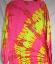 Long Sleeve Neon Yellow & Pink Tie Dye T-SHIRT Mens Womens Size M & L - $15.99