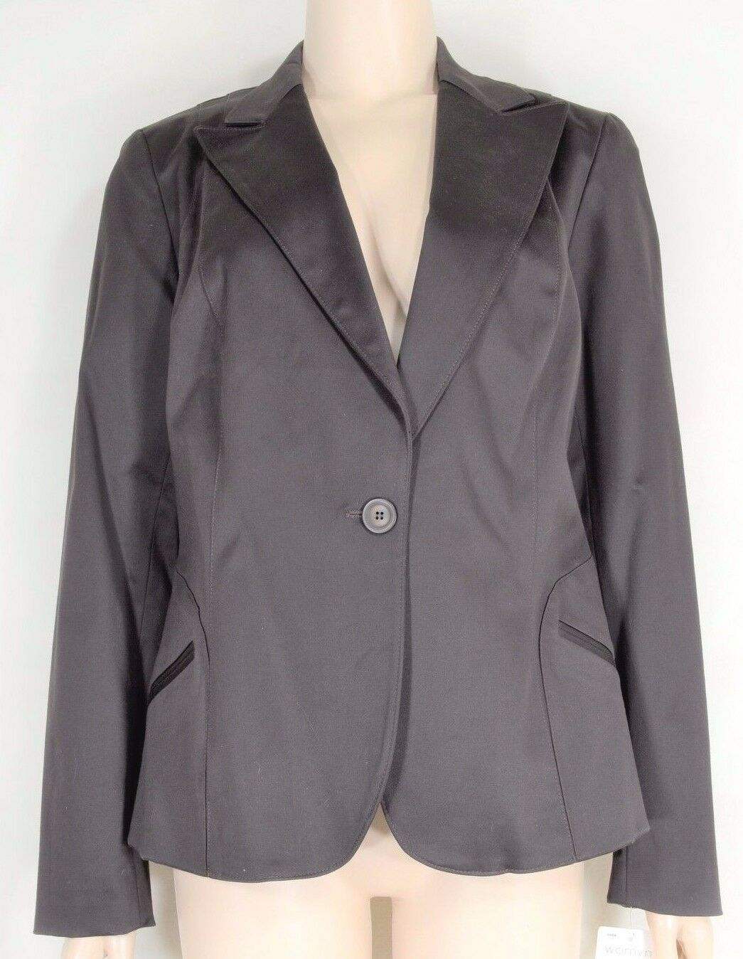 womyn jacket coat NWT SZ 8 dark brown 1-button closure lined NYC USA new