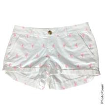 So Womens Flamingo Print Chino Shorts Size 11 White Pink Pockets Casual - $23.76