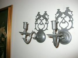 RARE PAIR WILLIAMSBURG PEWTER CHOWNING SCONCES BY VIRGINIA METALCRAFTERS - $350.63