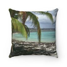 Faux Suede Square Pillow - Unique REMOTE Mona Island - Galapagos of the ... - £14.45 GBP+