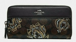 New Coach 78075 Accordion Zip wallet Coated Canvas and Leather Tulip / Black - $84.00