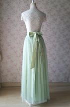 Floor Length Full Tulle Skirt Bridesmaid Long Tulle Skirt Back-bow Pastel Green  image 2