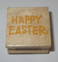 "Happy Easter Rubber Stamp Holidays Hero Arts Wood Mounted 1.25""  - $3.85"