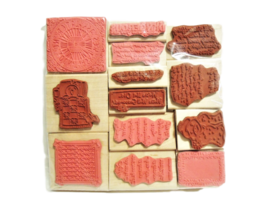Set of 13 NEW Wood Mounted Rubber Stamps, Various image 2