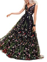 Women's Black Ball Gown Embroidery Prom Dress Floral Print Long Evening ... - $125.99
