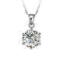 925 Sterling Silver Necklace 6 Claw Cubic Zircon Crystal Pendant Necklace - $13.49