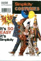 Simplicity 0698 Sewing Pattern Boys & Girls Clown Costumes & Hat Size 2 - 4 - $17.63