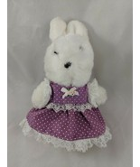 "Applause Tilly White Rabbit Plush Bunny 8"" Purple Dress Stuffed Animal - $13.60"