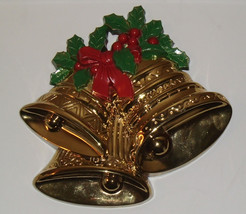 Vintage 1991 Plastic Gold Holly Hanging Christmas Bell Wall Door Decoration - $9.89