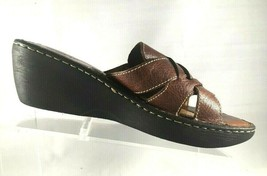 BORN Sandals Brown Leather Strappy Wedge Slip On Shoes Womens Size 10 M - $32.87