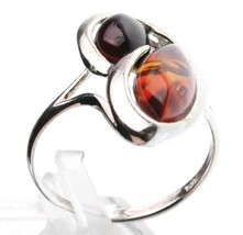 Sterling Silver 925 Multi-Color Dark & Light Brown Oval Baltic Amber Ring Size 8