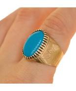 9ct Vintage SIGNET mens ring Turquoise stone UK Size P BHS - $303.20