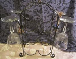 Wine rack holds 6 bottles metal Vintage 4 glasses 4 wine charms bottle t... - $36.45