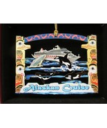 Alaskan Cruise Brass Ornament Travel Souvenir Orca Whale Totem Poles - $18.95