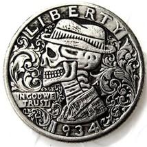Hobo Creative 1934 Washington Quarter Dollars Skull Zombie Skeleton Hand Carved - $11.99