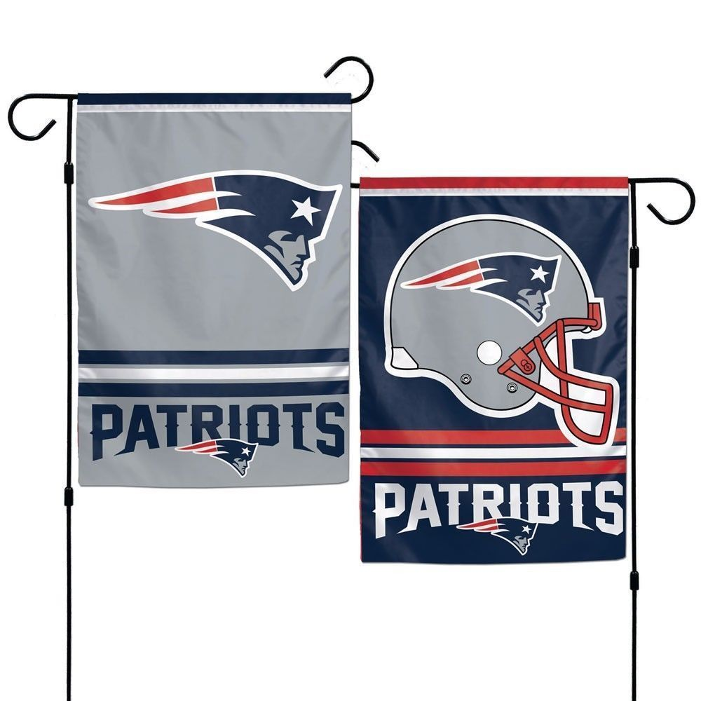 "NEW ENGLAND PATRIOTS TEAM GARDEN WALL FLAG BANNER 12"" X 18"" 2 SIDED NFL FOOTBALL"