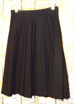 "Sz M - Talbots Black Pleated Polyester 25"" Long A-Line Winter Skirt  - $28.49"
