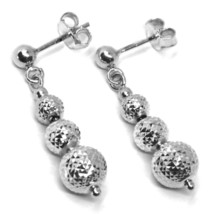 18K WHITE GOLD PENDANT EARRINGS WORKED SPHERES 5-6-8 MM DIAMOND CUT, FACETED image 1