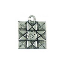 QUILTING SQUARE FINE PEWTER CHARM PENDANT - 19mm  x 16mm x 2mm