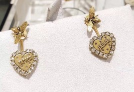 AUTHENTIC Christian Dior 2019 J'ADIOR Heart Crystal Dangle Earrings Wasp Gold image 1