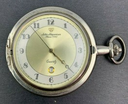 Jules Jurgensen Pocket Watch Vintage Silver? Quartz Gold Crown fr Parts ... - $9.90