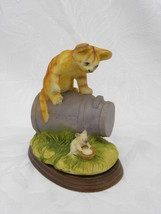Vint Porcelain, Pottery or Resin Cat on Milk Can w/Mouse w/Bowl of Milk ... - $3.99