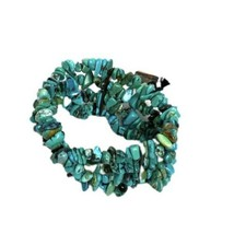 Turquoise Stretch Bracelet Fashion Jewelry Turquoise Chips Wide New - $9.79