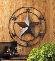 Western Stars Iron Wall Decor Large Star in Center Surrounded by 6 Small... - $34.60