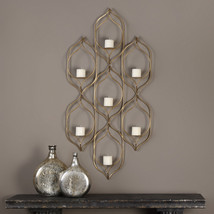 "NEW HUGE 59"" HAND FORGED AGED GOLD METAL WALL SCONCE SEVEN CANDLE HOLDER - $395.60"