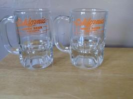 Vintage CALIFORNIA Brand Root Beer Schnapps Heavy Glass Beer Mug Set/2~V... - $9.90