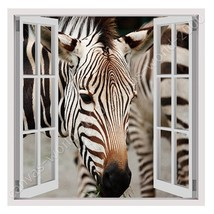 CANVAS (Rolled) African Zebra Fake 3D Window Painting Oil Paintings Prin... - $18.31+