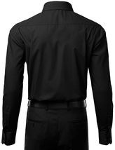 Berlioni Italy Men's Slim-Fit Premium French Convertible Cuff Solid Dress Shirt image 8