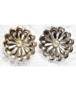 SET OF 2 SM FLOWER SHAPE SILVER TONE METAL SCARF/SHOE CLIPS W/RHINESTONE... - $6.89
