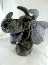 """A&A Plush Triceratops Dinosaur Hand Puppet 13"""" Grey With Green Eyes Line... - $16.82"""