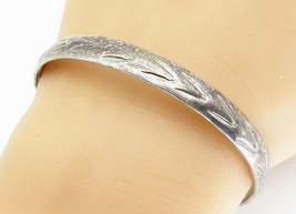 MEXICO 925 Silver - Vintage Etched Pattern Rustic Bangle Bracelet - B5910 - $64.33