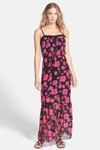 Kensie Dress Women Junior Maxi Black Bold Pink Combo Chiffon Strap Medium $99 - $26.53