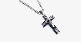 Stainless Steel Beaded Cross Men's Pendant - $23.99