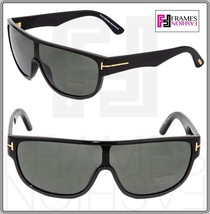 TOM FORD Wagner TF292 01A Black Gold Shield Visor Unisex Sunglasses Authentic - $197.01